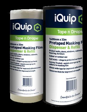 Picture of iQuip Pretaped Masking Film & Disp. 1800mm X 33M