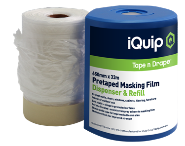 Picture of iQuip Pretaped Masking Film & Disp. 650mm X 33M